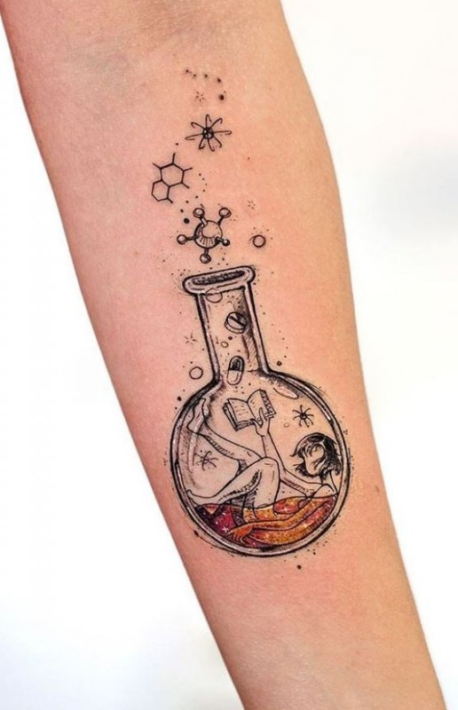 Girl in a Bottle Tattoo