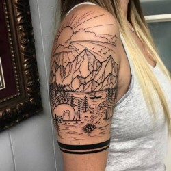 Blackwork Landscape Half-Sleeve Tattoo By David Mushaney