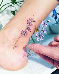 Tiny Floral Ankle Tattoo