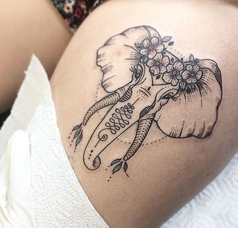 Flower Elephant Tattoo