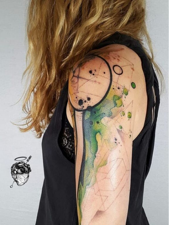 Geometric Watercolor Tattoo by Santa Perpetua