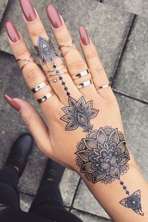 Tribal Lotus Mandala Hand Tattoo
